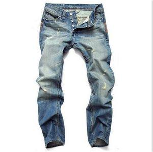 Light Blue Gerade Mens Jeans Designer dünne lange Distrressed Reißverschluss-Jeans Männlich Kleidung