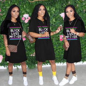 2020 SİYAH Kadınlar Yaz Gevşek Elbise Casual Sport Plaj Bezi Elbiseler Genel D61803 için KONUDA Oversize Tişörtlü Tasarımcı Tshirt LIVES