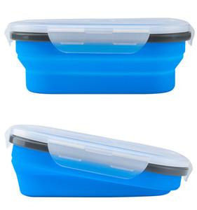 Echootime 100pcs 800ml Outdoor portátil dobrável pratos de almoço boxs Silicon Microondas Louça Lunchbox Bowls Container bebê Crianças Caixa
