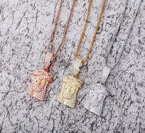 925 Sterling Silver Jesus Piece Pendant Necklace CZ Hip Hop Bling Bling Pendant Cubic Zircon Jewelry