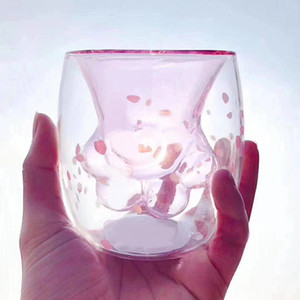 QBsomk 스타 벅스 동물 이중 유약 고양이 발톱 컵 고온 투명 커피 잔 어린이 귀여운 우유 유리 컵