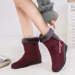 Women Boots Wedges Heels Snow Boots Faux Suede Winter Boots Shoes Woman Plus Size 43 Mid Calf Winter Shoes Female Booties