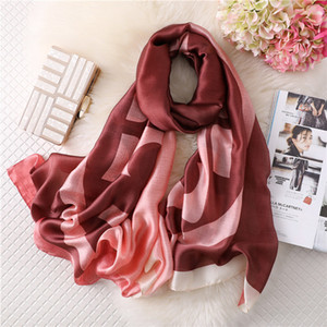New Silk Scarf Women Big seal Printing Foulard Female Fashion Shawls&Wraps Beach Towel Soft Long Scarves Kerchief 180*90cm