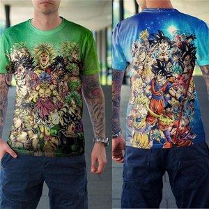 Été en vrac O Neck Couples Designer Tops Dragon Ball 3D Digital Print à manches courtes T-shirts Femmes