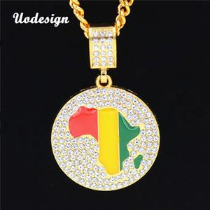 Uodesign 2 Boyutları Altın Jamaikalı Afrika Kıta Afrika Yuvarlak Kolye Küba Zincir Kolye Hip Hop Takı