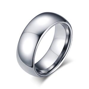 Può mescolare ordine Argento moda semplici anelli da uomo gioielli in acciaio tungsteno regalo per ragazzi uomini J001