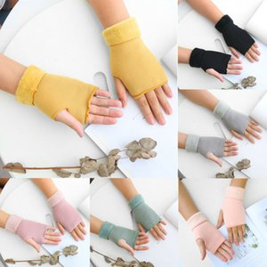 Winter Women`s warme Fingerless weiche Half-Finger Solid Color Plüsch Handschuhe Fäustlinge