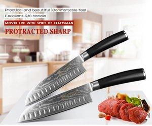 YKC caliente 7 pulgadas manija Santoku VG10 Damasco japoneses de acero inoxidable cuchillos de cocina profesional Chef cocinero Cleaver Herramientas G10