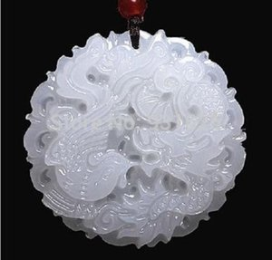 Wholesale- Beautiful Genuine Handmade Natural White Jade Carved Dragon Phoenix Pendant + Necklace Fashion Carving Pendants Jewelry