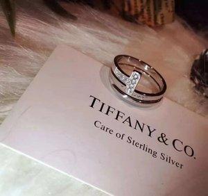 T lüks 925 gümüş kutu ile altın nişan düğün yüzüğü gül ayarlanabilir halka ÇİFT T İKİ aşk hediye ünlü tasarımcı takı yüzük