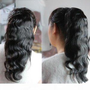 Clip Clip humana Ins Cola de caballo para las mujeres Negro Natural onda del cuerpo en las extensiones de cabello Remy mongol trama doble