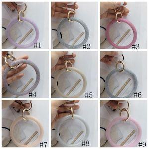 12styles Silikon-Armband-Armband Wrist-Schlüsselring-Art- und Weisefunkeln-Armband Sport Keychain Runde Schlüsselanhänger Große O Schlüsselanhänger Schmuck GGA3225