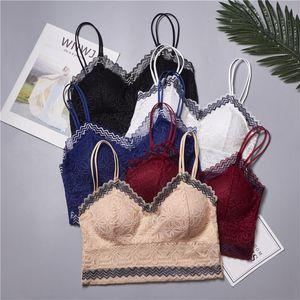 Sexy Women Lace Cotton Tank Tops Sexy V-Neck Crochet Vest Casual Bralette Strapless Bus tier Crop Tops Lace Flower Camisoles