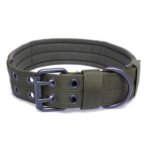 Nylon Tactical Haustier-Gang Hund weiche Kragen Verstellbare Trainingshundehalsband mit Doppel-Metall-D-Ring-Schnalle
