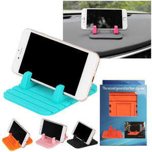100PCS Lot Universal Car Phone Holder Soft Silicone Desktop Anti Slip Mat Stand Bracket For Mobile Free shipping