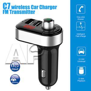 12-24V에 대한 빠른 충전기 어댑터 지원 핸즈프리 전화 U 디스크 TF 카드 기능 C7 자동차 MP3 블루투스 음악 플레이어 듀얼 USB3.1 전화