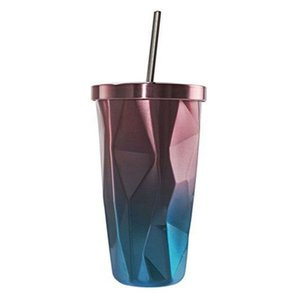 Stainless Steel Tumbler with Straw - Hot and Cold Double Wall Drinking Cups Coffee Mugs 500ML Irregular Diamond with Lid