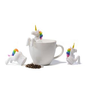 Bustina di tè Food Grade foglio herbal Spice filtro Unicorn Forma Tea Infuser Setacci creativo Filtro silicone allentato