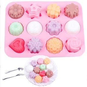 DIY Silikon Seifenform 12 - Loch Blume und Silikagel Kuchenform Pudding Jelly Formen Handgemachte Seife Schokoladenseifenform