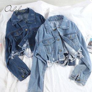 Ordifree 2020 Autumn Streetwear Women Denim Jacket Coat Casual Outwear Fashion New Short Ripped Jeans Jacket Coats