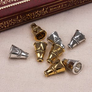 20 unids / lote 8 * 12mm Antique Silver / Gold Cono Tube Spacers Beads Caps DIY joyería que hace accesorios
