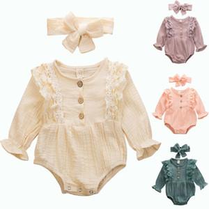 Emmababy 2PCS du nouveau-né bébé Kid bébé manches longues en dentelle Patchwork Bodysuit Jumpsuit Combishort Vêtements + Bandeau Automne