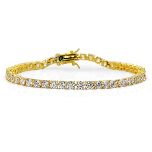 Hip-hop 4mm Gold Bracelet Microzircon Bracelet European and American Men's Jewelry Gold Silver Rose Gold Three Colors