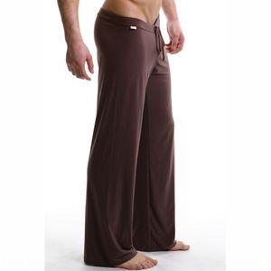 Men's Home pants pajamas solid color loose ice silk Yoga clothes lace lace large size men's yoga clothes