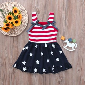 Toddler Baby Girl Dress 4th Of July Star Stripe Print Bowknot Straps Princess Dress Independence Day Baby Dresses Girl Dresses