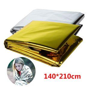 Taşınabilir Acil Battaniye Su geçirmez Güneş kremi Battaniye Gümüş Folyo Kamp Survival Pad Açık uyku Çanta Çadırlar ve Barınakları GGA3116