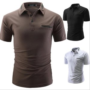 Brand New 2019 Summer Casual Designer Men's Short Sleeve Slim Men Dress Shirt Solid Male Clothing Fit Business Shirts Tees Polo T-Shirt