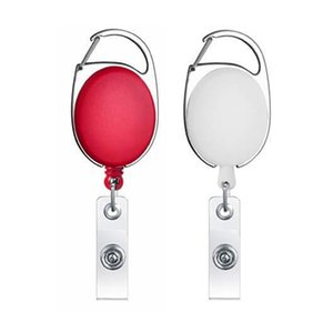 25#Retractable Pull Badge Reel Zinc Alloy ABS Plastic ID Lanyard Name Card Badge Holder Reels Belt Key Ring Chain Clips