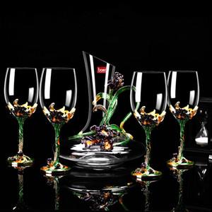 5pcs Set Enamel Glass Set Vinho sem chumbo de vinho de vidro Decanter definir criativo vinho Cálice Gift Box Vidro