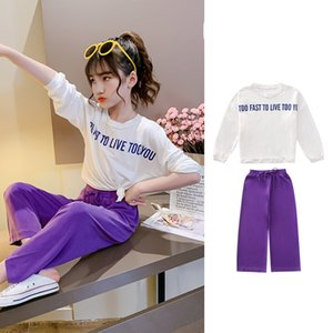 Girls Summer Children Clothes Outfits T-shirt+Pants Casual Tracksuit For Teens Kids Clothing Two-Piece Set 7 8 10 11 12 13 Years T200707
