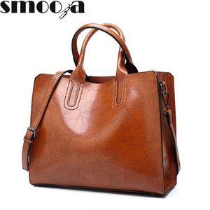 SMOOZA Leather Handbags Big Women Bag High Quality Casual Female Bags Trunk Tote famous Brand Shoulder Bag Ladies Large Bolsos Y190606