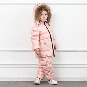 2020 winter jacket coat +pants 2 pcs sets children baby girl boy clothing kids clothes outerwear real fur snow suit outfit