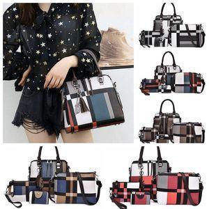 4Pcs set Tartan Backpack Purse for Women Schoolbag Travel Daypack Rucksack Purses plaid Shoulder Crossbody Handbag designer Phone Bags191010
