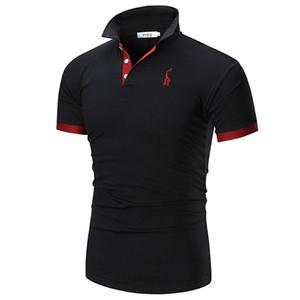 Mann-Polo-Hemd Marke zufälligen Männer Deer Stickerei Polohemd Männer schließen Hülsen-Menge-Polo-Männer