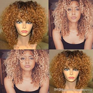 Cheap Ombre Wigs 1b 27# Black Blonde Afro Kinky Curly Lace Wig Heat Resistant Glueless Synthetic Lace Front Wigs for Black Women