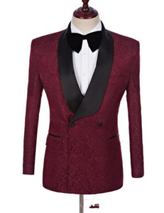 Paisley Groom Tuxedos Burgundy Men Wedding Tuxedos Chaqueta de doble botonadura Chaqueta Blazer Men / Darty Suit Personalizar (Jacket + Pants + Tie) 53