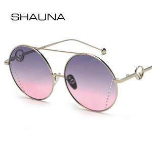 wholesale Crystal Decoration Fashion Round Sunglasses Women Oversize Gradient Sun Glasses
