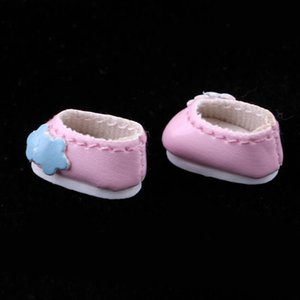 Fashion Flower Princess Leather Shoes for 1 12 15cm BJD Doll Accessories for Girls Christmas Gift Kids Toys -Pink