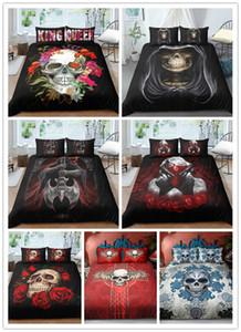3d сахарный череп наборы постельных принадлежностей Череп пододеяльник постельное белье две односпальные постельные комплекты одеяла