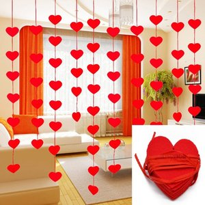 Event & Party Banners, Streamers & Confetti 5sets(80pcs) 2 Size Heart Garland With 3m Rope Charm DIY Curtain Felt Non-woven For Home