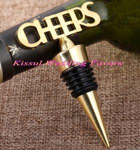 20Pcs / Lot faveurs de mariage en or Cheers Gold Bottle Wine Stopper cadeaux pour des faveurs de fête de mariage et faveur de douche nuptiale