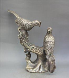 Colección de plata tibetano trabajo hecho a mano tallada Ramas y urracas Estatuas