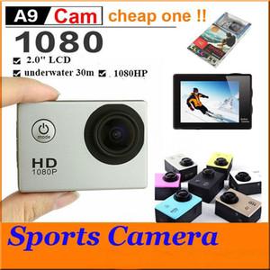 """الرياضة HD عمل الكاميرا الغوص 30M 2 """"140 درجة متر كاميرات للماء 1080P كامل HD SJcam خوذة تحت الماء الرياضة DV سيارة DVR رخيصة A9"""