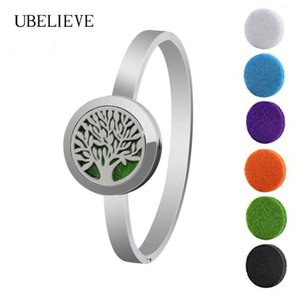 Tree of Life 25MM Magnet Essential oil Diffuser Bangle Bracelet Stainless Steel Round Aroma Perfume Locket Bangle
