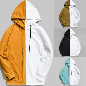 2019 Autumn Fashion Men 's Stitching Sweatshirts Solid Color Zip Up 까마귀 Classic Winter Hooded Sweatshirt S-2XL