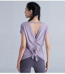 Yeni kısa kollu LU-11 düz renk seksi güzel arka bölme yoga kıyafetleri w modal çabuk kuruyan spor giysiler çalışan giysi spor dans